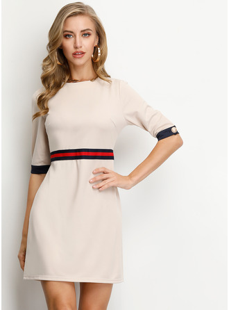 Polyester With Stitching/Knitting Knee Length Dress