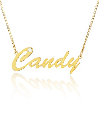 Custom 18k Gold Plated Silver Name Necklace With Diamond