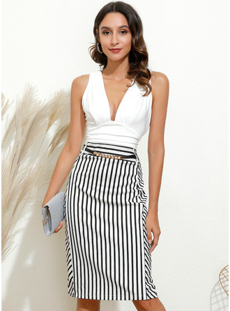 Striped Bodycon V-Neck Sleeveless Midi Elegant Party Dresses
