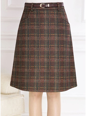 Pencil Skirts Knee Length Plaid Viscose Skirts