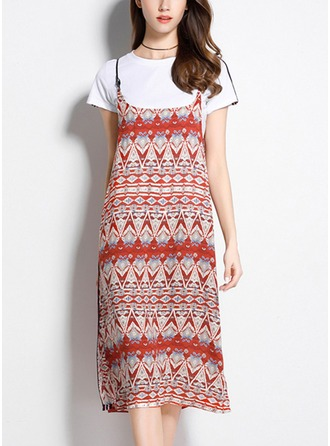 Cotton Blends With Print Midi Dress (Two Pieces )