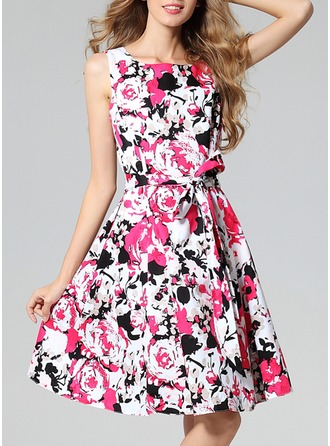 Polyester/Cotton With Print Knee Length Dress