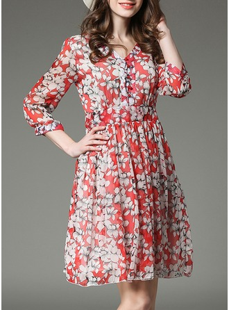 Chiffon With Print Above Knee Dress