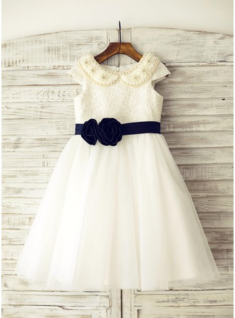A-Line/Princess Knee-length Flower Girl Dress - Tulle/Lace Short Sleeves Peter Pan Collar With Beading