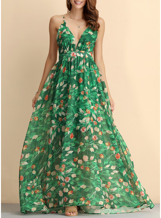 Floral Print Backless A-line V-Neck Sleeveless Maxi Boho Sexy Vacation Dresses