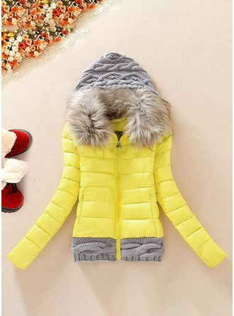 Polyester Long Sleeves Patchwork Slim Fit Coats Coats