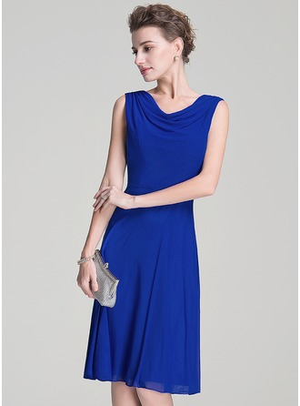Cowl Neck Knee-Length Jersey Mother of the Bride Dress