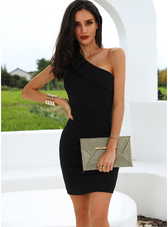 Solid Bodycon One Shoulder Sleeveless Midi Little Black Party Pencil Dresses