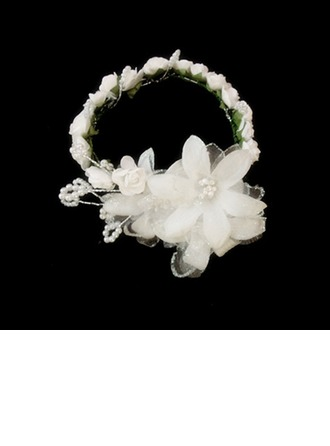 Kids Lovely Satin/Paper Flowers & Feathers/Headbands With Pearl