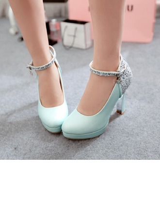 Women's Leatherette Chunky Heel Closed Toe Platform Pumps With Buckle Sparkling Glitter