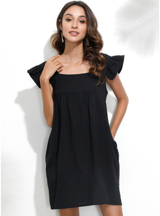 Square Neck Short Sleeves Midi Dresses