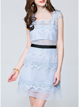 Lace/Organza With Lace/Stitching/Pierced/See-through Look Above Knee Dress