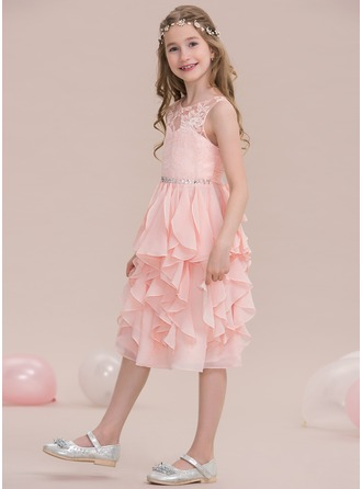 Scoop Neck Knee-Length Chiffon Junior Bridesmaid Dress With Beading Sequins Cascading Ruffles