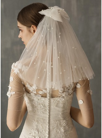 Two-tier Cut Edge Shoulder Veils With Faux Pearl