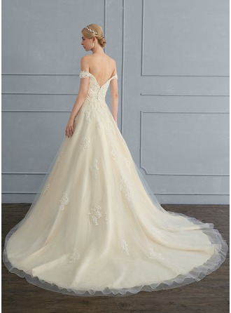 Ball-Gown Off-the-Shoulder Court Train Tulle Wedding Dress With Sequins