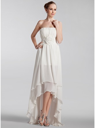 A-Line/Princess Strapless Asymmetrical Chiffon Wedding Dress With Ruffle Flower(s)