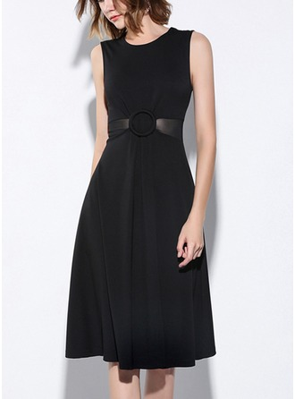 Cotton Blends With Stitching/See-through Look Knee Length Dress