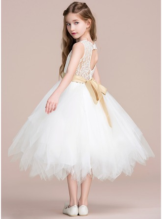 A-Line/Princess Tea-length Flower Girl Dress - Tulle/Lace Sleeveless  With Sash/Back Hole