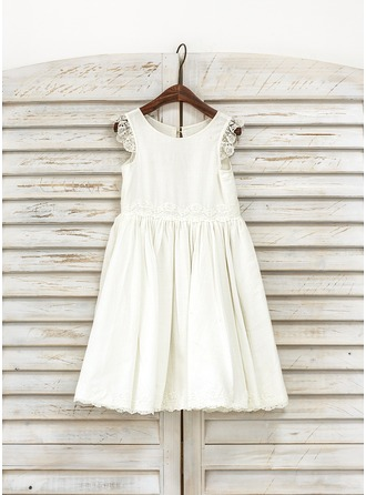 Knee-length Flower Girl Dress - Cotton Sleeveless Scoop Neck With Lace