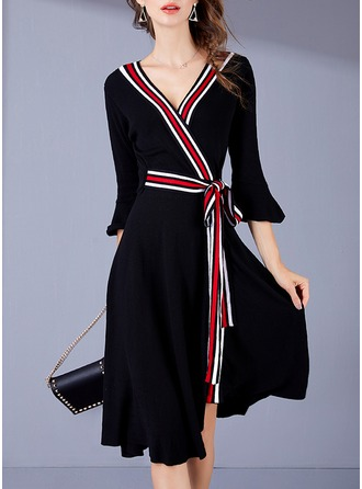Polyester/Spandex/Viscose With Stitching Knee Length Dress