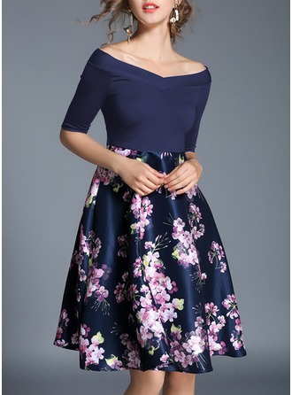 Polyester With Stitching/Print/Crumple Knee Length Dress