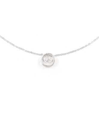 Silver Cubic Zirconia Circle Pendant Necklace For Women
