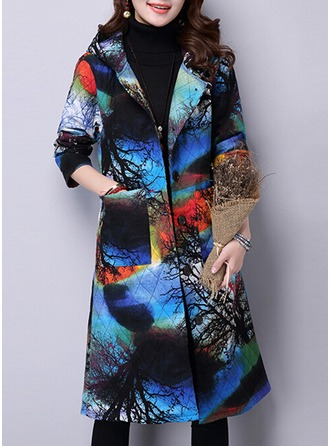Polyester Long Sleeves Print Blend Coats Coats