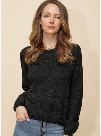 Cable-knit твердый Acrylic Polyester Round Neck Пуловеры ()