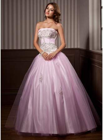 Ball-Gown Strapless Floor-Length Tulle Quinceanera Dress With Ruffle Beading Sequins