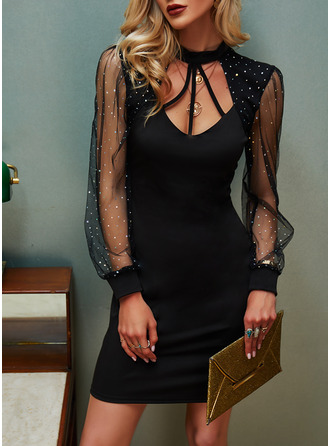 Sequins Solid Bodycon Long Sleeves Midi Elegant Little Black Dresses