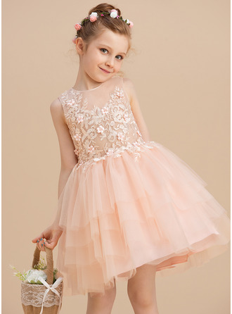 Knee-length Flower Girl Dress - Tulle Lace Sleeveless Scoop Neck With Lace Beading