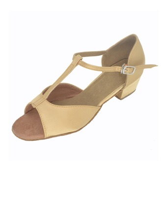 Kids' Satin Heels Sandals Latin With T-Strap Dance Shoes
