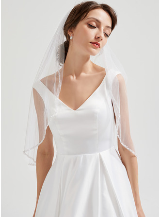 One-tier Elbow Bridal Veils With Pencil Edge