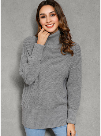Ribbed Chunky knit Solid Polyester Turtleneck Sweater Dresses Sweaters