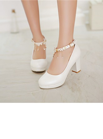 Women's Leatherette Chunky Heel Closed Toe Pumps With Buckle Rhinestone