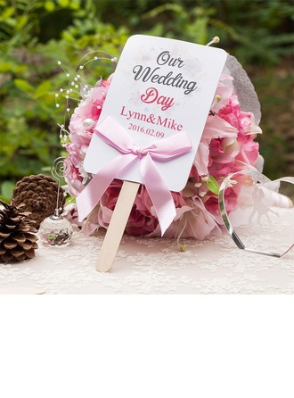 Personalized Pearl Paper Hand Fans With Ribbons