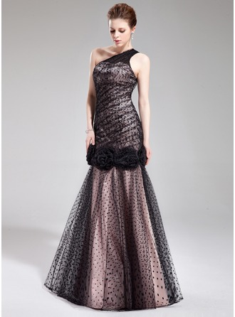 Trumpet/Mermaid One-Shoulder Floor-Length Charmeuse Tulle Evening Dress With Flower(s)