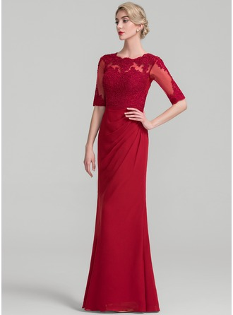 Sheath/Column Scoop Neck Floor-Length Chiffon Lace Evening Dress With Ruffle