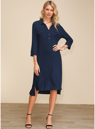 Polyester With Button/Solid Asymmetrical Dress