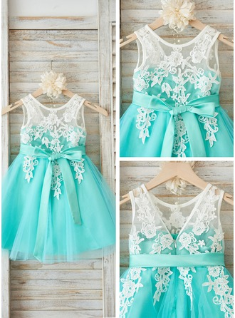 A-Line/Princess Knee-length Flower Girl Dress - Tulle/Lace Sleeveless Scoop Neck With Sash/V Back