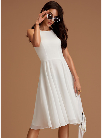 Scoop Neck Ivory Chiffon Dresses