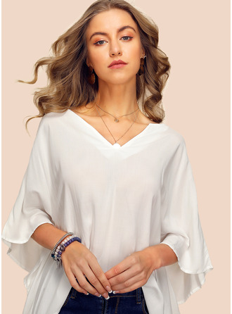 1/2 Sleeves Batwing Sleeves Chiffon V Neck Blouses