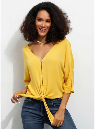 1/2 Sleeves Viscoză V Neck Bluzlar