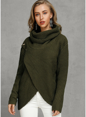 Chunky knit Solid Polyester Stand Collar Cardigans Sweaters