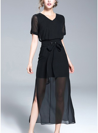 Chiffon With Stitching/See-through Look Midi Dress