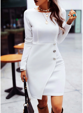 Solid Sheath Round Neck Long Sleeves Midi Casual Dresses