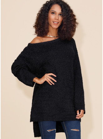 Couleur Unie Polyester Une Épaule Pull-overs Pulls