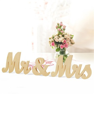 """Mr. & Mrs."" Delicate Wooden Decorative Accessories"