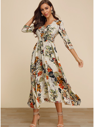 Polyester With Button/Print/Slit Midi Dress