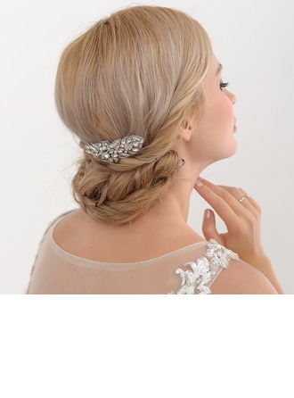Ladies Classic Satin Combs & Barrettes With Rhinestone (Sold in single piece)